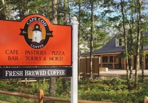 an image of the cape cod coffee sign